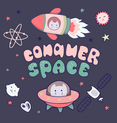 Kawaii cute cats astronauts flying in space among vector
