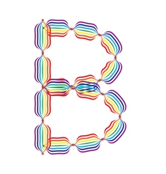 Letter B made in rainbow colors vector image