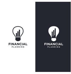 Lighting bulb and financial chart logo icon vector
