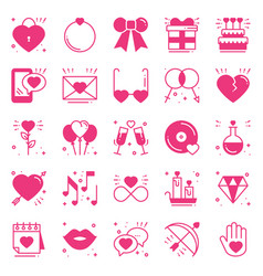 Love line icons set happy valentine s day pink vector