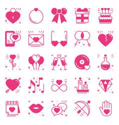 love line icons set happy valentine s day pink vector image