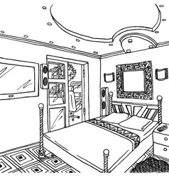 Luxurious bedroom vector