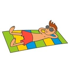 Man sunbathing vector