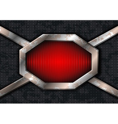 Metal hex frame on the grungy metal vector image