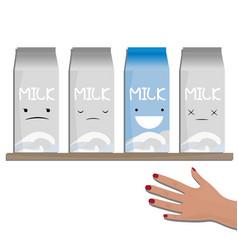 Milk emotions a carton of vector