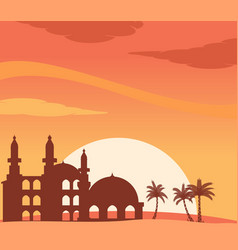 Mosque silhouette at sunset background vector