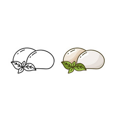 Mozzarella doodle icon linear and color version vector