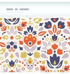 Ornamental folk tulips horizontal torn frame vector image