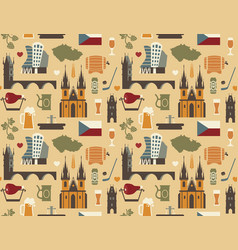 pattern with symbols czech republic vector image