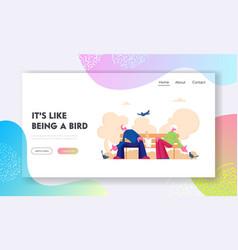 Pensioners feed pigeons website landing page vector