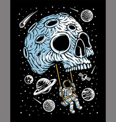 Playing swing on skull planet vector