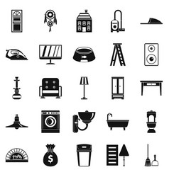 quarters icons set simple style vector image