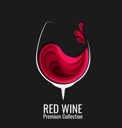 red wine splash in glass paper cut vector image