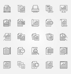 report icons set business outline vector image