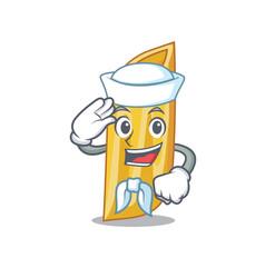 Sailor penne pasta character cartoon vector