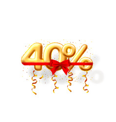 sale 40 off ballon number on white background vector image