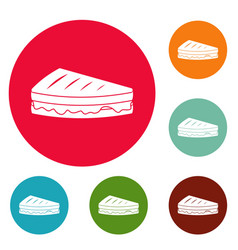 sandwich icons circle set vector image