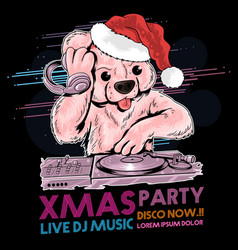 santa claus teddy bear dj music vector image