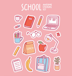 School awesome stickers set vector