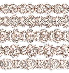 seamless mehndi borders traditional indian ethnic vector image