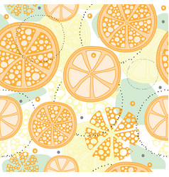 seamless pattern with abstract orange fruit lemon vector image