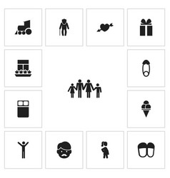 set of 13 editable kin icons includes symbols vector image