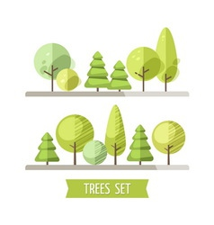 Set of flat trees and pines vector image
