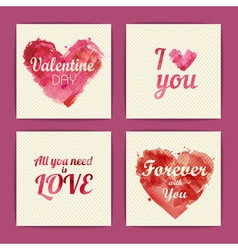 Set of watercolor valentine invitation cards vector image