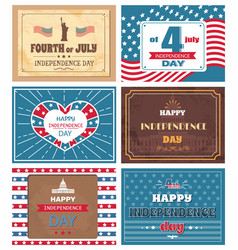 set posters 4 july independence day holiday usa vector image