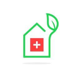 simple pharmacy logo like contour house vector image