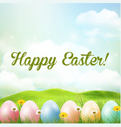 spring meadow background with easter colorful eggs vector image