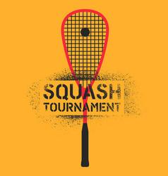 Squash tournament stencil spray style poster vector