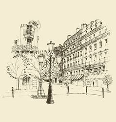 streets in Paris France vintage engraved vector image