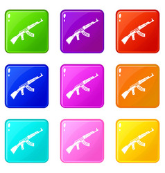 Submachine gun set 9 vector