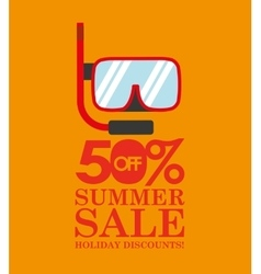 Summer sale 50 discounts with snorkeling vector