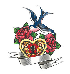 Swallow with rose and heart tattoo vector