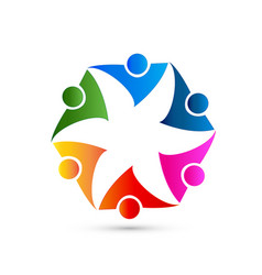 teamwork group people representing flower shape vector image