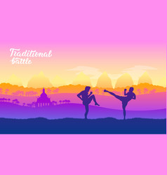 Thai warriors martial arts of different nations vector