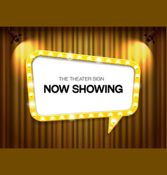 Theater sign on curtain background with spotlight vector
