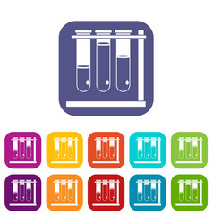 Three beakers icons set flat vector