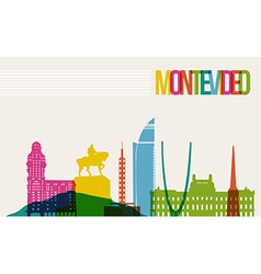 Travel Montevideo destination landmarks skyline vector image