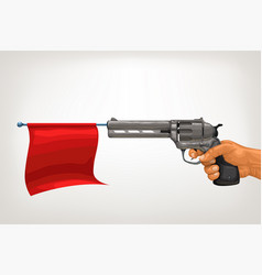 vintage gun with red flag vector image