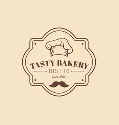 Vintage tasty bakery logo hipster pastry icon vector