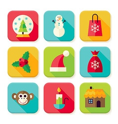 Winter Christmas New Year Square App Icons Set vector