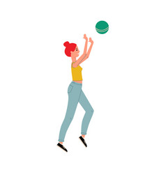 woman playing a sports game with ball flat vector image