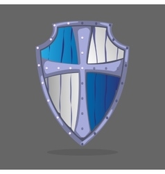 Wooden armor shield blue and white colors with vector image