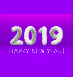 Wooly white hairy shaggy wool 2019 happy new year vector