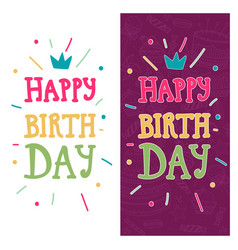 bright greeting card with text happy birthday on vector image