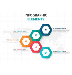 colorful hexagon business infographics elements vector image vector image