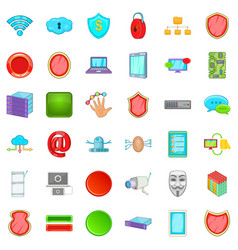 internet security icons set cartoon style vector image vector image